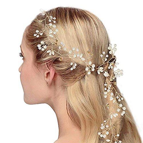 CESHUMD Packung mit 2 Stück Kristalle Hochzeit Stirnband Braut Kopfschmuck für Brautjungfer und Blumenmädchen, 19,7 Zoll Haar Rebe und Kopfschmuck Perlen Silber Haarschmuck für Frauen und Mädchen