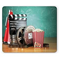 Ambesonne Movie Theater Mouse Pad, Production Theme 3D Film Reels Clapperboard Tickets Popcorn and Megaphone, Standard Size Rectangle Non-Slip Rubber Mousepad, Multicolor