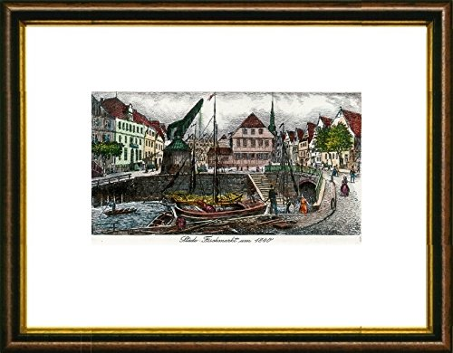 Kunstverlag Christoph Falk Handkolorierte original Radierung Stade, Fischmarkt um 1840 von Peters im Rahmen Braun-Gold, Graphik, kein Kunstdruck, kein Leinwandbild (Bilder Radierung,)