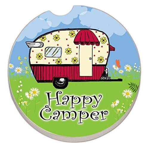 Happy Camper - Single Car Coaster by Counter Art by Creative Ventures - Car Coaster