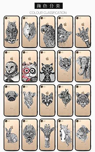 Coque iPhone 7 Plus Housse étui-Case Transparent Liquid Crystal Les animaux en TPU Silicone Clair,Protection Ultra Mince Premium,Coque Prime pour iPhone 7 Plus-Le loup-style 2 11