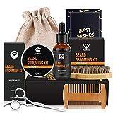MayBeau Bartpflege Set (6Teilig), Bartbalsame(60g), Bartöl, Bartbürste, Bartkamm Bartschere Bartpflegeset Bartwuchsmittel Geschenkset für Anfänger und Fortgeschrittene mit Reisetasche und Reisebox