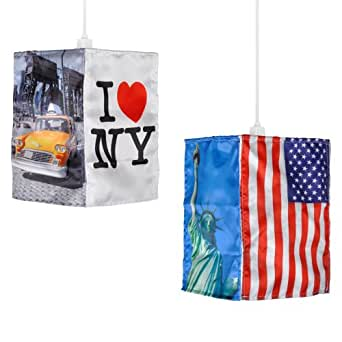retro lampenschirm h ngeleuchte design mit new york motiven und flagge der usa f r 28 mm. Black Bedroom Furniture Sets. Home Design Ideas