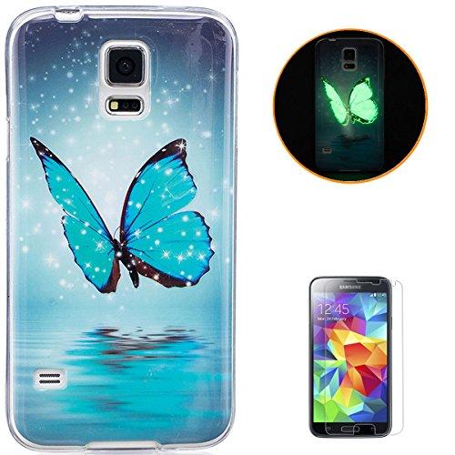 KaseHom Compatible for Samsung Galaxy S5/I9600 Leuchtende Wirkung Ultra dünn TPU Hülle, Weich Klar Silikongel Rutschfest Gummi Stoßstange Staubbeweis Haut Schutzschale Fall-Blauer Schmetterling