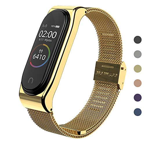 SenMore Compatible Correa Xiaomi Mi Band 3/4 Correas Metal,Pulsera de Acero Inoxidable Agradable para Mi Band 3 Correa and Mi Band 4 Correa (No Host)(Dorado)
