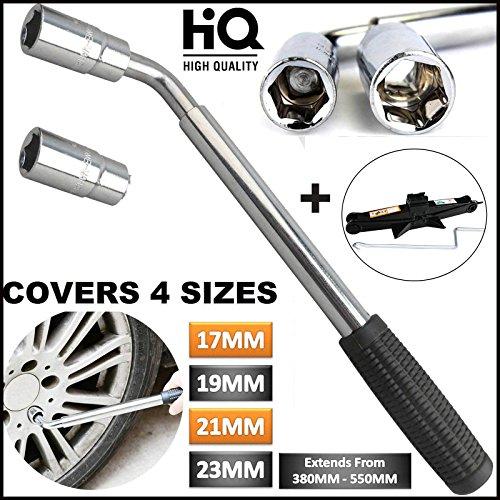télescopique Clé à écrou de roue Lug 4 tailles 17 19 21 23 mm et 2 tonne Ciseaux Jack avec poignée - Résistant à la rouille et pneu de rechange universelle Outil Kit
