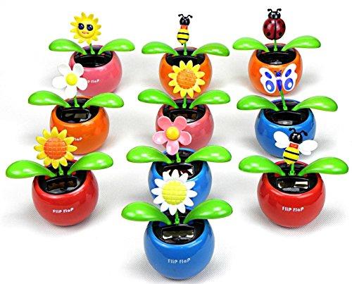 niboline 10 Solar Wackelfigur Auto Wackelblume Set I mit Solarzelle I Flip Flap Tanzende Blume, Solarblume, Schmetterling, Käfer Star-Line