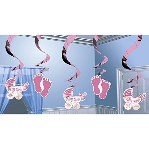 5er Deko Spiralen Pullerparty Baby Girl 61 cm Hängedeko Babyparty Mädchen Partydeko Spirale Taufe Dekoration Raumdekoration Mottoparty Baby Party Raumdeko