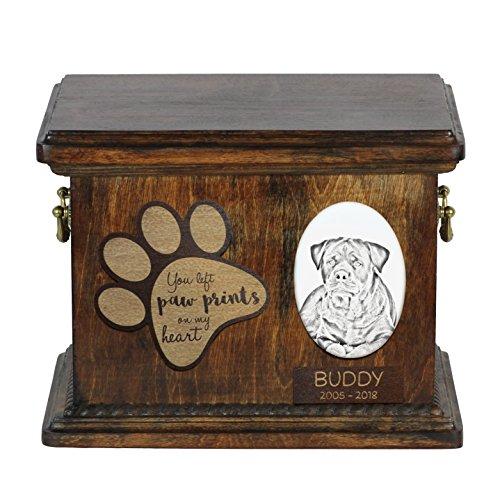 ArtDog Ltd. Rottweiler, Urne für Hundeasche mit Keramikplatte und Beschreibung -