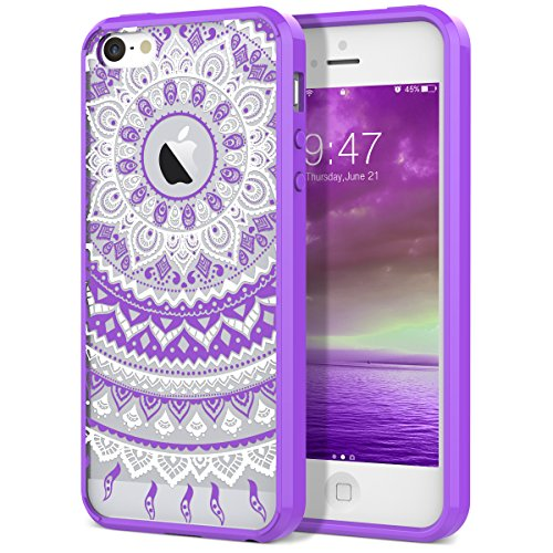 iPhone 5 5S Fall, iPhone SE Fall, SmartLegend Retro Totem Mandala Floral Muster Transparent Acryl PC Hard Back Cover mit TPU Bumper Frame Hybrid transparent Schutzhülle für iPhone 5 5S SE, violett