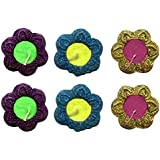 D'Amour Handcrafted Colourfull Decorative Flower Diya (Set Of 6)