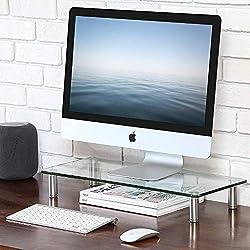 FITUEYES Moniteur Stand pour Elever Ecran Ordinateur iMac PC en Verre Trempé DT105601GC
