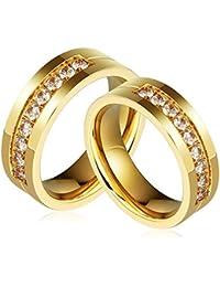 Bishilin 1 Par Anillo de Hombres Mujeres de Acero Inoxidable Alto Pulido con AAA Zirconia Ancho 6MM  Anillos de Compromiso Bodas Oro