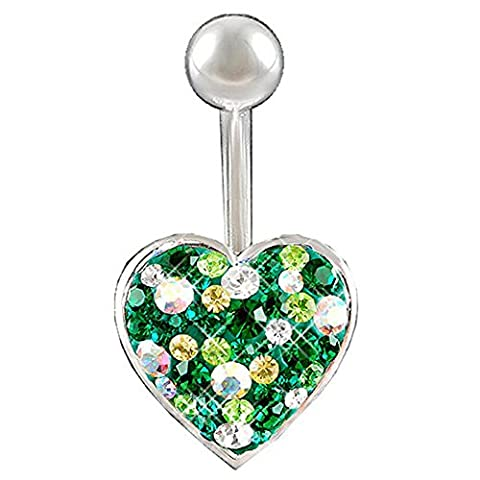 14Gauge 1.6mm 3/8 10mm Heart Emerald Crystal Ferido belly navel button ring bar ABPQ Body Piercing Jewellery