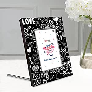 ezyPRNT Photo Frame for 4x6 Inch photo, wooden table top cum wall hanging with Love Doodle theme
