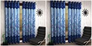 Home Sizzler 2 Piece Eyelet Polyester Door Curtain - 7ft, Blue & Shalimar Frill Panel Garden 2 Piece Eyele