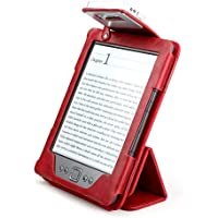 Aquarius - Custodia Book Lighter II in pelle per lettore di libri elettronici Amazon Kindle 4, con luce di lettura a LED doppio ricaricabile Philips e supporto intelligente rosso rosso