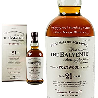 Personalised Balvenie 21 Year Old Single Malt Whiskey 70cl Engraved Gift Bottle