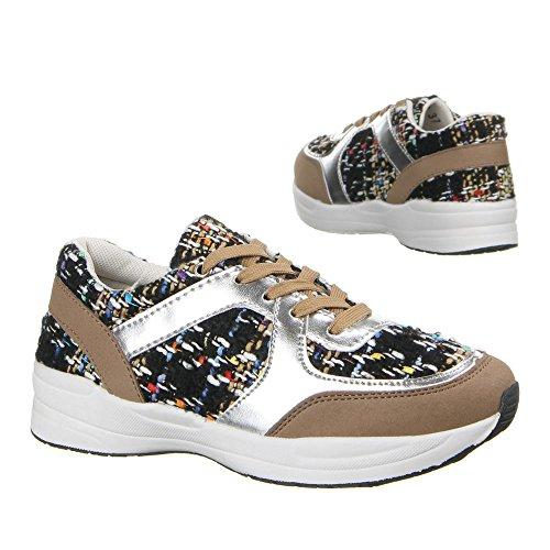 Ital-Design - Sneaker Donna Multicolore (Marrone/Multicolore)