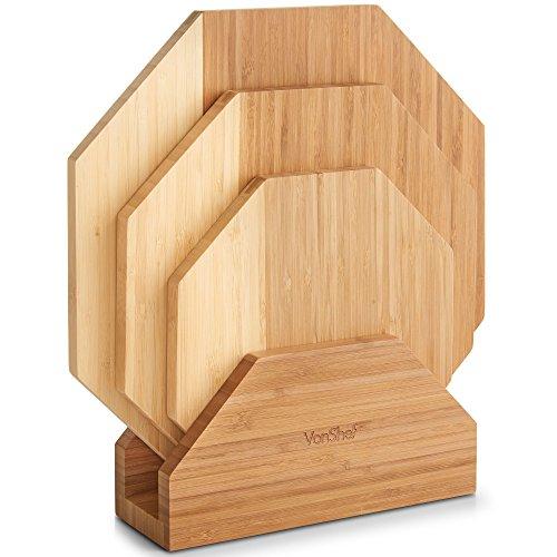 Vonshef set di 3 taglieri con supporto/vassoi – realizzato in bambù naturale con moderno design ottagonale con due tonalità