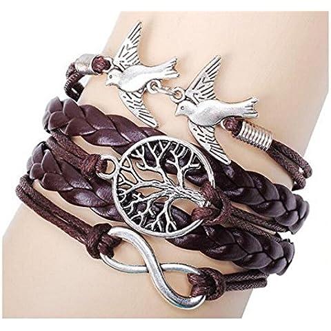 Más Querida estilo vintage cuero negro cuerda de ramas de árboles de pájaros y corazones pulsera de infinity Love