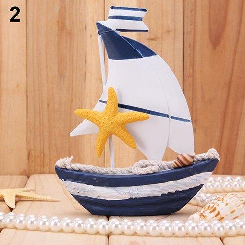 Homofying Tisch, Dislpay Holzarbeiten, nautisches weißes Rad, Mini-Segelboot, Holz, 2