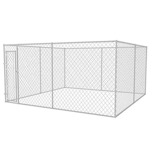 vidaXL Outdoor Hundezwinger Verzinkter Stahl 4 x 4 m Hundehütte Hundekäfig