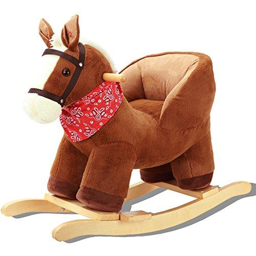 Qxmei cavallo a dondolo per bambini in legno con musica 2 in 1 regalo per bebè 1-3 anni,a
