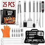 25 PCS Set di accessori per barbecue per barbecue, Set di accessori per barbecue in acciaio inossidabile con termometro, tappetino per griglia e guanti per grigliate per il campeggio all'aperto.