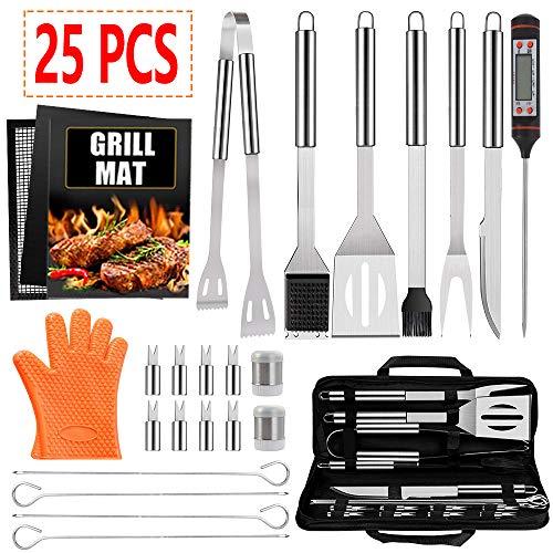 Alpacasso 25 STÜCKE Grillzubehör Werkzeugset, Edelstahl Grillzubehör Werkzeugset mit Thermometer, Grillmatte, Grillhandschuhen, Grillzange und Grillspatel für Camping Grill Outdoor Cooking Backyard.