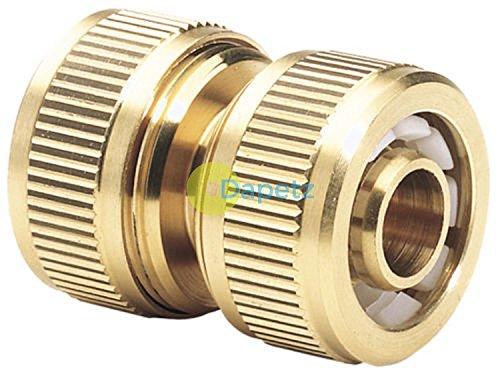 Dapetz® Raccord en laiton, connecteur pour réparation de tuyau, cannelé, de grande qualité, pour jardin ; 1/2\