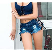 Onfly Frauen Jeans Shorts Hohe Taille Kreuz Lace Up Quaste Sexy Solide Brief Band Mini Denim Hot Pants Lässige Zerrissene Loch Nachtclub Strand Kurze Hosen