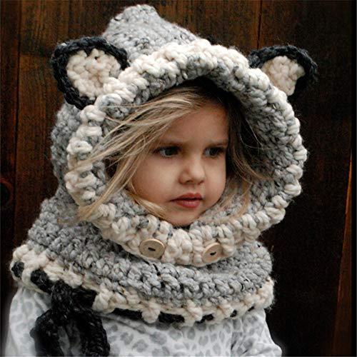 Yishelle Kinder schöne gestrickte Mütze und Schal Earflap Shawls Cap Hats Stoles mit Kapuze für Baby Kinder Mädchen Jungen (Farbe : Grey, Größe : L) Hat Earflap Cap
