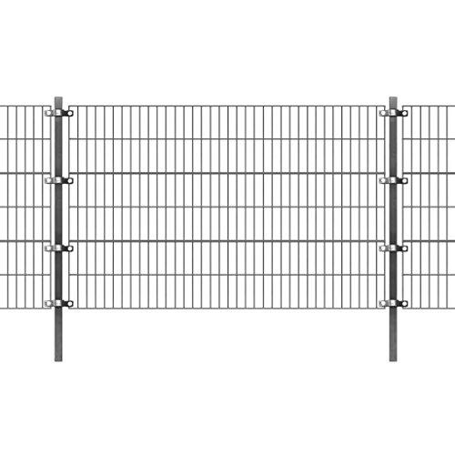 *vidaXL Zaunfeld mit Pfosten Gartenzaun Doppelstabmattenzaun 6×1,2 m Anthrazit*