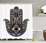Nyngei Hamsa Shower Curtain Trovare la Tomba Vuota Scenario Storia Golgotha ​​Background with Ancient People in stoffaDecor con Blu Lungo Caramello