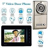 WWAVE 7-Zoll-Wired Video Telefon Türklingel Türsprechanlage mit Zwei-Wege-Audio 800TVL Outdoor-IR-Kamera Night Vision entsperren