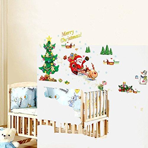 Tutoy Christmas Wall Aufkleber Weihnachtsbaum Weihnachtsmann Fenster Kann Wandaufkleber Entfernen - Christmas Onesies