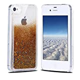 Funda iPhone 4, Carcasa iPhone 4S, RosyHeart Sparkle Brillar Líquido Lentejuelas Funda para iPhone 4/4S - Ultrafina Dura PC Transparent Anti-arañazos Protectiva Caso - Oro