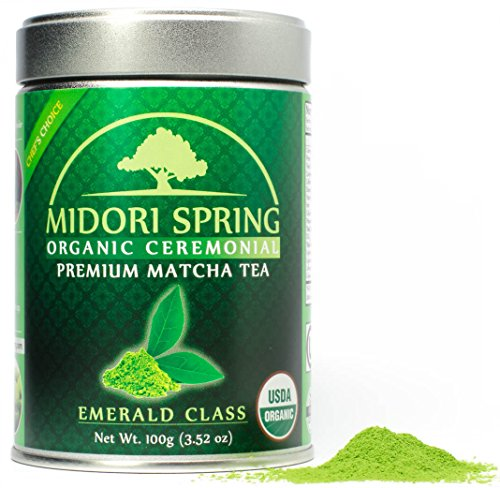 *Limited* Midori Spring EMERALD CLASS - Organic Ceremonial Matcha, Chef's Choice! Quality Japanese Matcha Powder For Drinks, Baking and Tea Brew - Organic, Kosher, Vegan (100g)