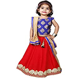 Najara Fashion Red Silk & Blue Printed Silk Lehnga Choli Set