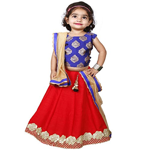 Najara Fashion Girls' Silk Dark Red Lehenga Choli (Redblueprinted3-4_3-4 Years)
