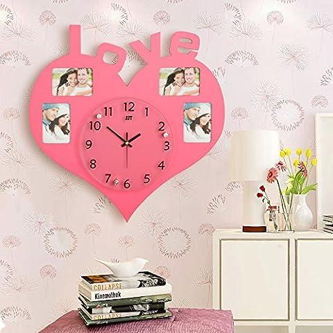 nllpjmf digitale orologio da parete silenzioso senza ticchettio silenzioso decorativo orologi muto un a forma di cuore Orologio da parete