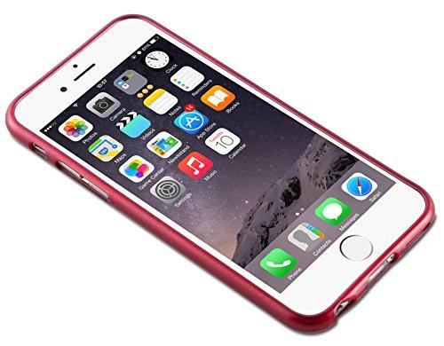 Apple iPhone 6 / 6S (4.7) Silikon-Hülle in ROT von Cadorabo - TPU Schutz-hülle Edelstahl-Optik gebürstet BRUSHED Design – Handy-hülle Bumper Case Cover in ROT ROT