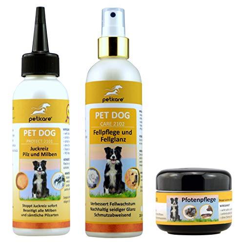 Peticare Hunde-Set | Pilzbefall & Milbenbefall & Juckreiz (100 ml) + Fellpflege & Fellwachstum & Fellglanz (250 ml) + Pfotenpflege & Entzündung (50 ml)