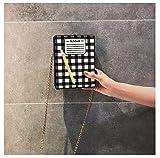 Yvonnezhang Fun Notepad Design Box Style Ricamato Matita Pu Leather Femminile Casual Clutch Chain Purse Borsa a Tracolla Mini Messenger FlapBag, 13x17x5