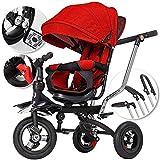 5in1 Dreirad Kinderdreirad Kinder Fahrrad Rad Kinderwagen mit lenkbarer Schubstange klappbares, flüsterleise Gummireifen und Sonnendach, 5-fach Umbau mitwachsend Rot