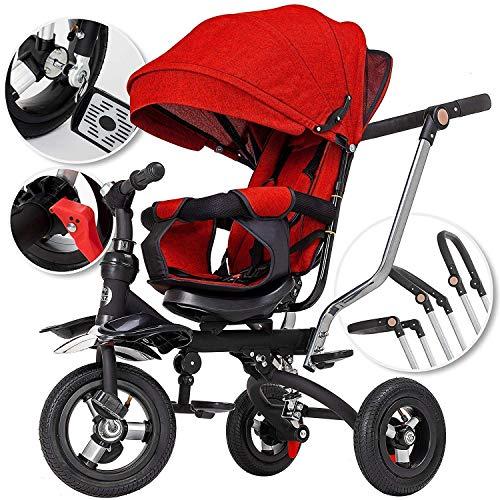 5in1 Dreirad Kinderdreirad Kinder Fahrrad Rad ✔Kinderwagen mit lenkbarer Schubstange ✔klappbares, ✔flüsterleise Gummireifen und Sonnendach, ✔5-fach Umbau ✔mitwachsend Rot