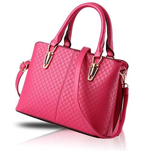 H&S Borsa a tracolla borsa in pelle goffrata borsa qualità Ms. borsa raccoglitore dell'unità di elaborazione Messenger bag big bag Rose