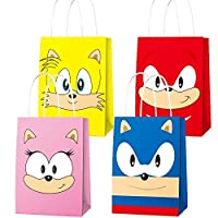 16 PCS Party Paper Bags for Sonic Party Supplies Favor Goody Candy Bags Treat Bags for Sonic Inspired The Hedgehog Birthday Party Supplies Kids Adults Birthday Party Decora- 4 Patern
