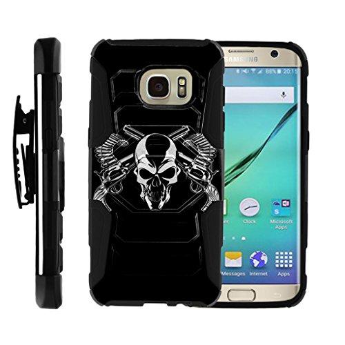 turtlearmor | Kompatibel für Samsung Galaxy S7Edge Fall | G935[Octo Guard] Dual Layer Holster Schutzhülle Gürtelclip Stabile Ständer Cover -, Mercenary Skull (Samsung Metropcs-handys Galaxy)
